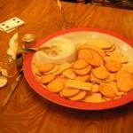 SuperBowl spicy dip, crackers, football food