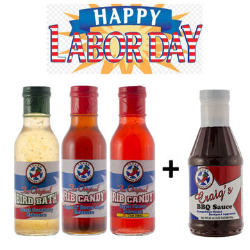 Buy three bottles of Rib Candy and get a free bottle of Craig's BBQ Sauce!
