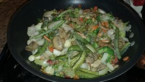 February's leftover vegetables - finally enough for stir-fry!