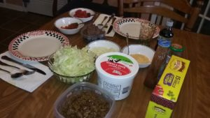 Our taco night feast.  Actually, it's the second night for our taco feast!